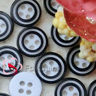Black Double Ring 4 Holes 11mm Plastic Shirt Buttons Sewing Craft PCB-D01