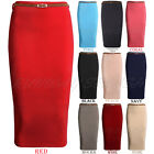 WOMENS LADIES BELTED BODYCON LONG OFFICE PENCIL SKIRT DRESS SIZE 8-14