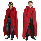 Cloak Cape Long Hooded Halloween Costume Adult Ladies Men Red Blue Purple Black