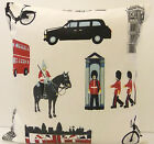 PATRIOTIC QUEENS JUBILEE CUSHION COVERS ENGLAND SOLDIER TAXI LONDON RED BUS BIKE