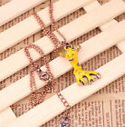 Lovely Yellow Sika Deer Green Crystal Long Chain Necklace