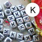 """K"" Silver Square Alphabet Letter Acrylic Plastic 6mm Beads 43C9308-k"
