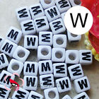 """W"" White Square Alphabet Letter Acrylic Plastic 6mm Beads 37C9308-w"