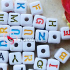 Assorted Sqaure Alphabet Letter Acrylic Plastic Beads 12mm 38C9744