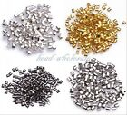 500pcs Silver Plated/Golden/Dark Silver/Black Tube Crimp End Spacer Beads 2mm