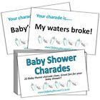 CHARADES - Baby Shower Party Game - Boy Blue, Girl Pink, Neutral Rainbow Unisex