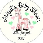 Personalised Baby Shower Circular Stickers Labels - Favours - Pink Toy Giraffe