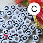 """C"" White Square Alphabet Letter Acrylic Plastic 7mm Beads 37C9129-c"