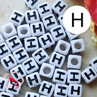 """H"" White Square Alphabet Letter Acrylic Plastic 7mm Beads 37C9129-h"