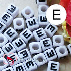 """E"" White Square Alphabet Letter Acrylic Plastic 7mm Beads 37C9129-e"