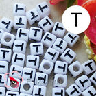 """T"" White Square Alphabet Letter Acrylic Plastic 7mm Beads 37C9129-t"