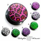 Acryl Ohr Plug Tiger Zebra Collection Kunststoff Flesh Tunnel Farben