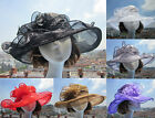 Womens Vintage Kentucky Derby Sun Hat Wide Brim Wedding Church Racing Hat A002