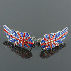 Red Blue Austrian Crystal Union Jack British UK Flag Angel Wings Stud Earrings