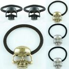 Skull Skeleton Head Elastic Metallic Hair Cuff Pony Band Ponytails Holder Ring