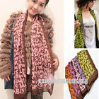Fashion Womans Girl Silky Rayon Graffiti Fluorescence Letters Scarf 6 Color S004