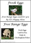 LARGE PERSONALISED CHICKEN HEN EGG BOX LABELS - 8 PER SHEET