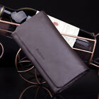New Smooth&soft genuine leather Trifold Checkbook Long Wallet