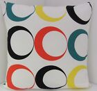 TRENDY NEW CUSHION COVERS BLACK YELLOW TEAL RED CIRCLES MADE USING IKEA FABRIC