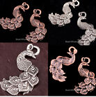 Lots 10 pcs Tibetan Silver Peacock Charm Pendants Findings 35x29mm