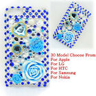 Blue Rose Rhinestone Crystal Bling Back Case Cover Skin For Mobile Cell Phone #B