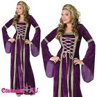 Ladys Purple Medieval Renaissance Costume Velvet Gown Fancy Dress Outfits