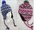 Kids Teens Jacqaurd Inca Hat With Fleece Lining, Winter Thermal Tassle Hats
