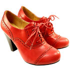 WOMENS HIGH HEEL RED BROGUE LACE UP ANKLE SHOE BOOTS LADIES NEW 3-8