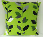 LIME GREEN BLACK GREY WHITE FLOWERED CUSHION COVERS WITH A BLACK BACK