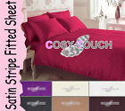 3pc SoftTouch Egyptian Stripe Fitted Bed Sheet & Pair of Pillowcases Bedding Set