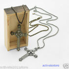 Retro Vintage Bronze Crown Cross Pendant Necklace Double Cross For Men Women