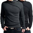 Unique Collar!! New Men's Knit Sweater shirt Warm Knit knitwear Black/Grey hot