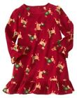 GYMBOREE REINDEER SLEEPWEAR RED REINDEER FLEECE NIGHTGOWN 2T 3 4 10 12 NWT-OT