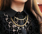 Vintage Chunky Multi Cross Spike Chain Collar Necklace