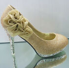 Rose Lace Flowers Wedding Party Ankle Knot Platform High Heel Shoes
