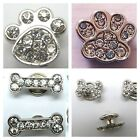 Paw & Bone Shaped Crystal Diamante Screw on Rivets for Dog Pet Collars UK SELLER