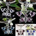 Wholesale Crystal Rhinestone Dangle Butterfly European Beads Fit Charms Bracelet
