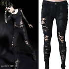 FreeShip PUNK VISUAL KEI BLACK STUB SLIM ZIP UP K141 BONDAGE PANTS S-2XL