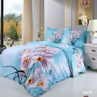 Butterfly King/Queen Quilt/Duvet Cover Set New 100%Cotton Floral Blue Pillowcase