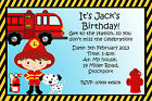 Boys Personalised Fireman Birthday Party Invitations