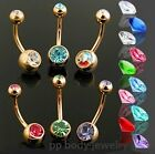 "14G~3/8""~10mm Gold Plated 316L S. Steel w/Double Gems Navel Ring (Specify Color)"