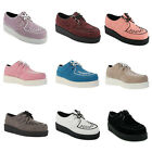 New Ladies Platform Womens Lace Up Brothel Creepers Punk Goth Flat Shoes Boots