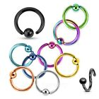 PAIR of One Side Fixed Ball Captive Rings~14g, 16g, 18g~Titanium Anodized 316L