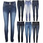 Ladies Skinny Fit High Waisted Slim Fitted Womens Denim Jeans Size 6 8 10 12 14