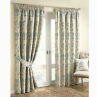"DOWNTON DUCK EGG BLUE LUXURY FLORAL JACQUARD 3"" TAPE PENCIL PLEAT LINED CURTAINS"