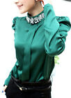 office lady faceted stones stand collar bubble sleeve shirt blouse top  GREEN