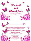 Personalised Butterfly Wedding Invitations Invites *colours can be changed*