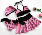 GIRL POLKA DOTS 4PC BIKINI SET SWIMSUIT SWIM / SWIMING COSTUME AGES 3-10 YEARS