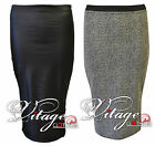 NEW WOMENS LADIES WET LOOK SHINY SKIRTS PENCIL KNEE LENGHT BODYCON MIDI OFFICE
