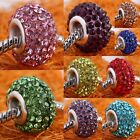Crystal Rhinestone Resin Large Hole Beads Findings Fit European Charms Bracelet